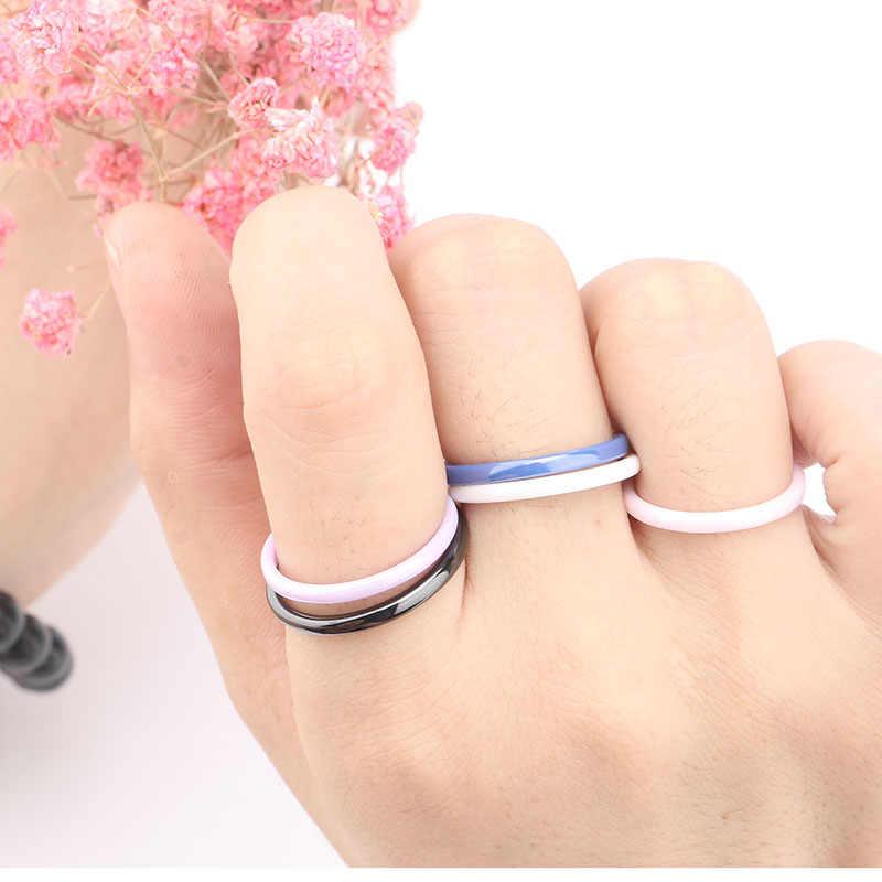 Kolorowe pierścienie ceramiczne 2mm dla kobiet gładkie różowe czarne niebieskie białe fioletowe pierścionki elegancki top Quality biżuteria na prezent zaręczynowy