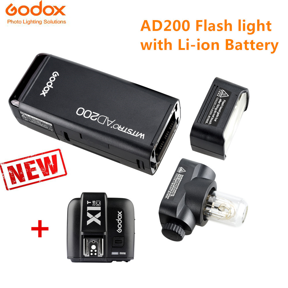 Godox AD200 Flash Lamp LED Light Standard Kit +X1T-C x1t-s x1t-n Cameras Trigger Trainsmitter TTL 2.4 G Wireless for Nikon Canon godox x1t s ttl 2 4g wireless trigger for sony 2x xtr 16s flash receiver for v850 v860 c v850ii v860iic v860n v860ii f v850ii