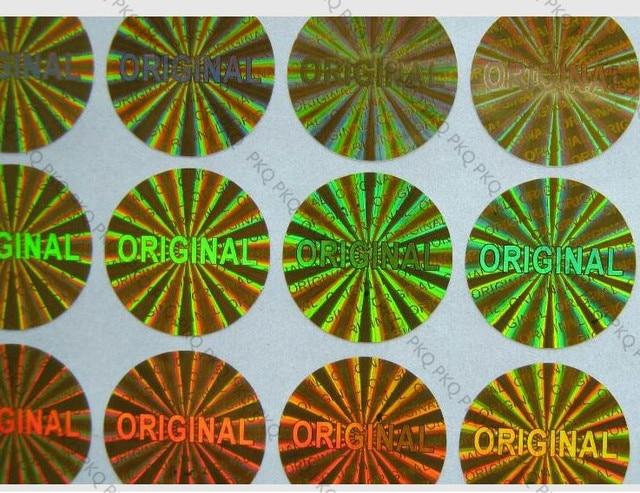 1000 piezas de holograma láser etiqueta ORIGINAL de 15mm de diámetro de plata/de Oro ORIGINAL sello de garantía de holograma láser etiqueta Anti- falso etiqueta engomada