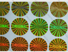 "5000Pcsโกลด์/เงินเลเซอร์โฮโลแกรมสติกเกอร์ 1.5 ซม.""Original"" One Time Holographicเลเซอร์สติกเกอร์รับประกันสติกเกอร์"