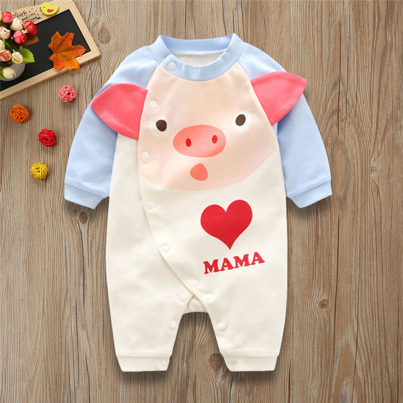 2018 Baby Girls Clothes Baby Romper Toddler Infant Baby Girl Cartoon Pig Love Print Long Sleeve Jumpsuit Romper Clothes JY24#F girls eyes print romper