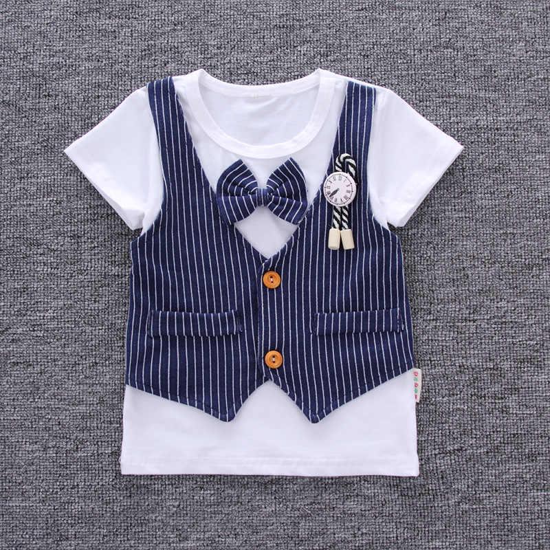01aa0b6efe1f ... DIIMUU 2PC Toddler Baby Boy Clothing Gentlemen Suits Kids Child Fake  Vest Bow Tie Appliques Clock ...