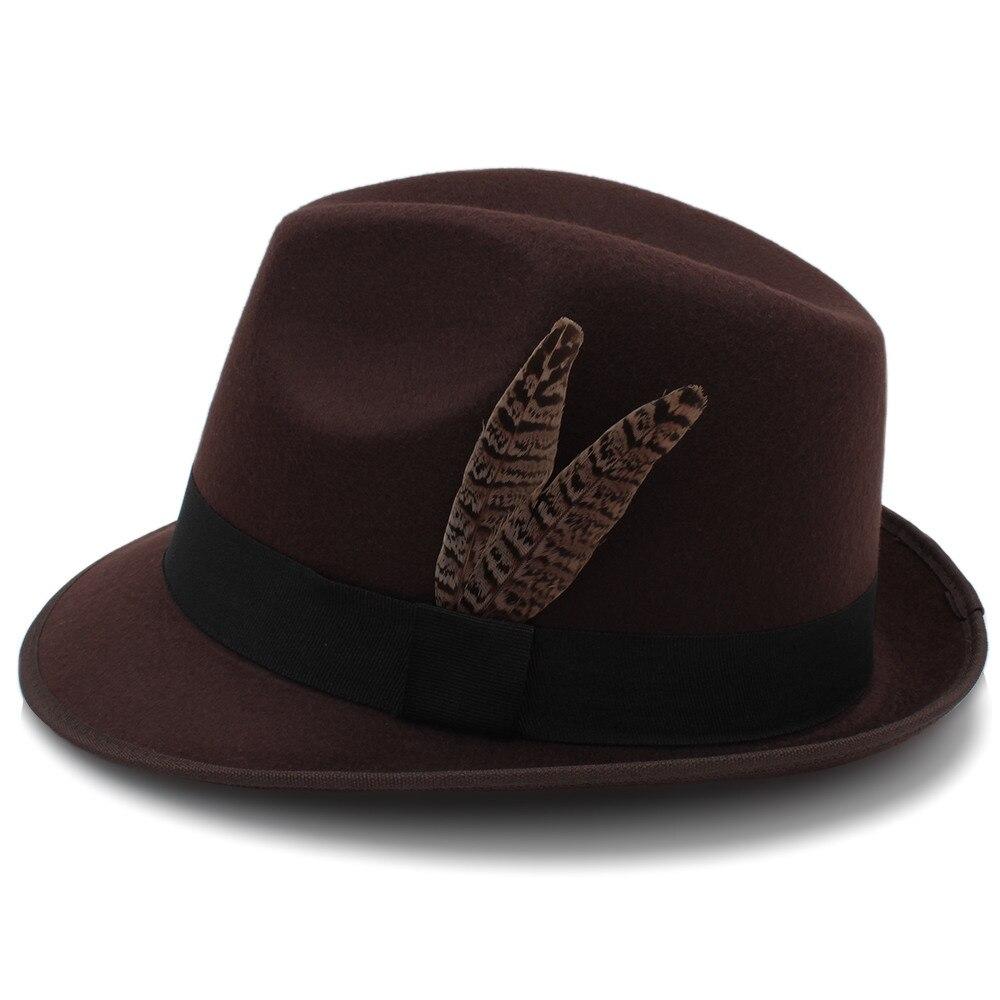 16e07b36876 Vintage Wool Women Men Gangster Trilby Felt Fedora Hat With Fashion ...