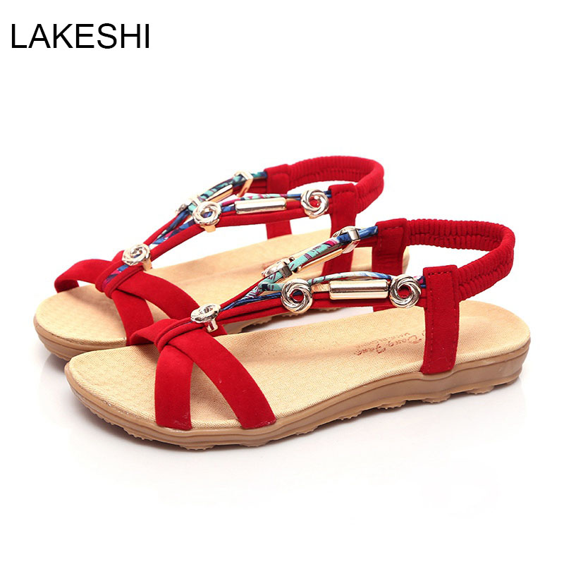 LAKESHI Women Sandals Summer Shoes Women Flat Sandals Fashion Beach Shoes Plus Size 40 41 lakeshi fashion women sandals flats ankle strap women shoes summer sandals ladies beach shoes