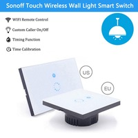 Sonoff Touch EU US Plug Wifi Wall Light Switch For Smart Home Glass Panel Touch LED