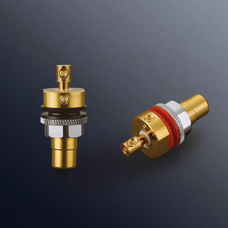 купить Viborg X 4pcs Hifi Audio amplifier pure copper 99.995% Gold plated Screw RCA Phono Chassis Panel Mount Female sockets adapter по цене 4223.44 рублей