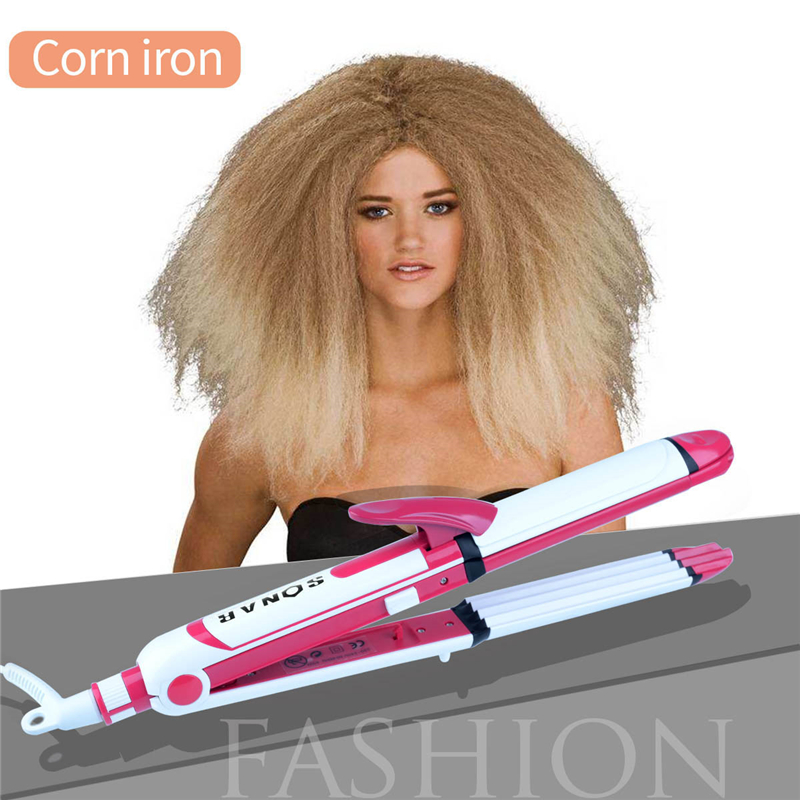 Brand 3 In 1 Professional Hair Straightener Flat Iron Hair Crimper Waver Corrugated Curling Wand Plate For Women Hair Care Tools