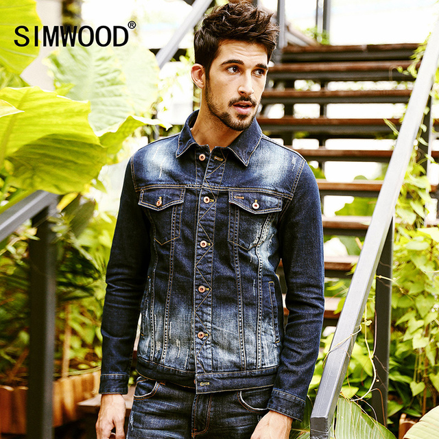 445fa6c91e0a SIMWOOD 2018 Autumn Winter Denim Jacket Men Slim Fit Jeans Coats Fashion  Casual NJ6521