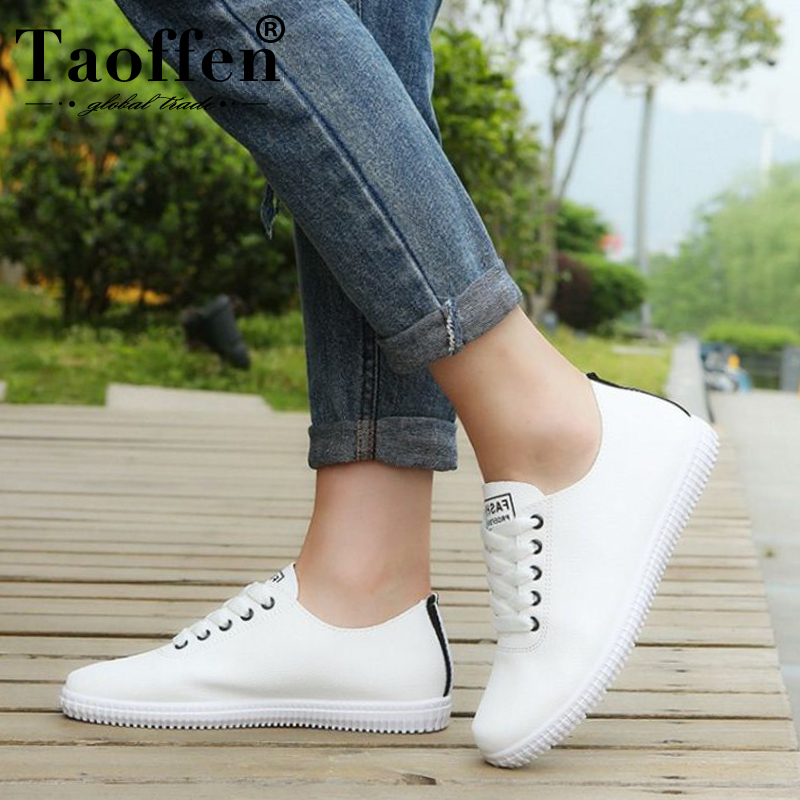 TAOFFEN Women Sneakers Shoes Casual Women Shoes Fashion Vulcanized Women Shoes White Flat Shoes Beach Footwear Size 35-40