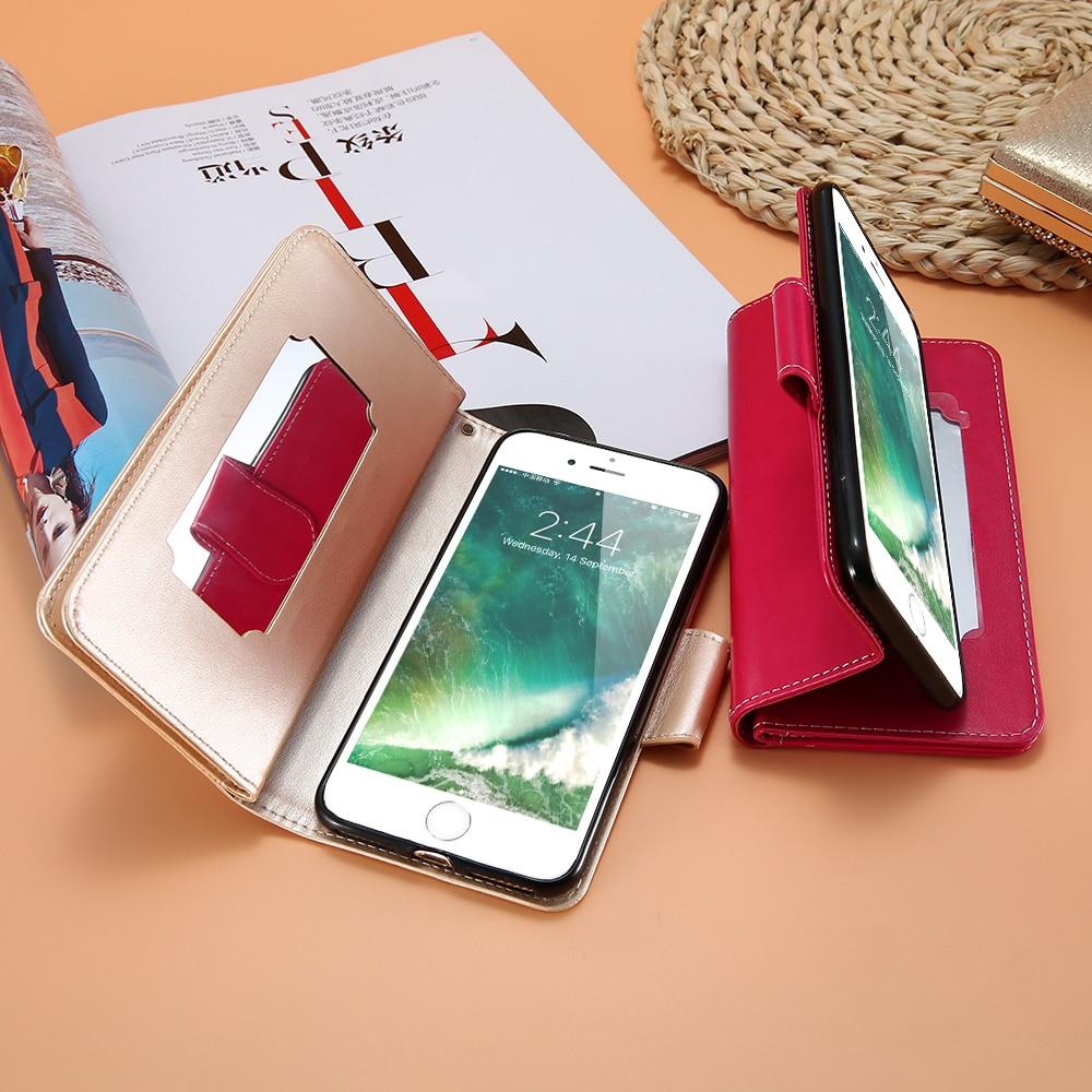 KISSCASE spegelficka stativ plånbok fodral för iPhone 5 5s SE 6s - Reservdelar och tillbehör för mobiltelefoner - Foto 2