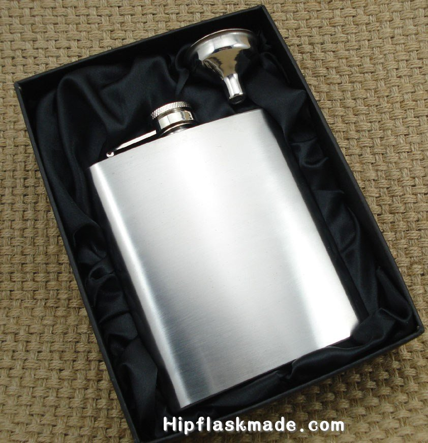 Lead free 7oz ALCOHOL stainless steel hip flask with free funnel in black gift box