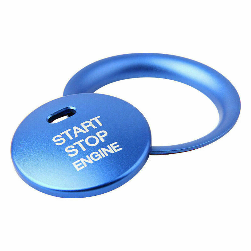 2pcs Car <font><b>Engine</b></font> Start Stop Button Switch <font><b>Cover</b></font> Trim high quality blue Aluminum Alloy <font><b>cover</b></font> ring For <font><b>Mazda</b></font> <font><b>3</b></font> Axela CX-<font><b>3</b></font> CX-4 CX-5 image