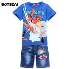New 2017 Retail Children Set Cartoon DUSTY PLANE fashion suit boys jeans sets t-shirt+pant 2pcs Kids Clothing
