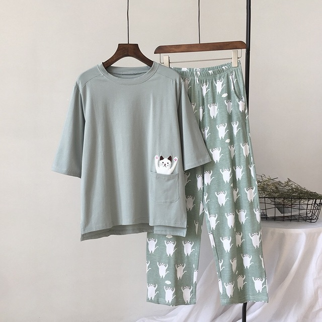 2019  New Women Pajama Set Soft Cat Cartoon Printing Pijama Home Pyjamas Ladies Cotton Pyjama Set Sleepwear