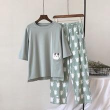 2019 novo conjunto de pijama feminino gato macio dos desenhos animados impressão pijamas casa pijamas senhoras algodão pijama conjunto sleepwear