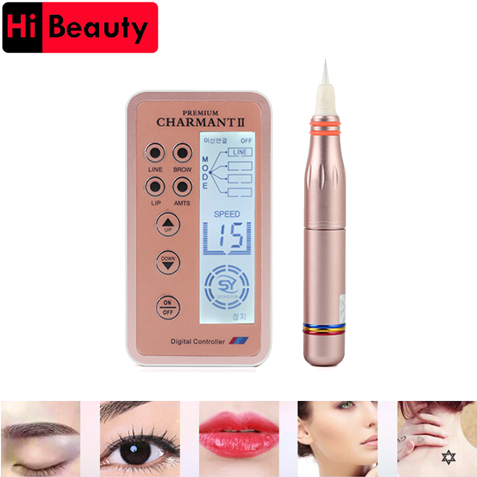 1PC Permanent Electric Auto Micro MTS Derma Therapy Makeup Tattoo Pen Machine Digital Controller For Eyebrow Lip Microblading 35000r import permanent makeup machine best tattoo makeup eyebrow lips machine pen