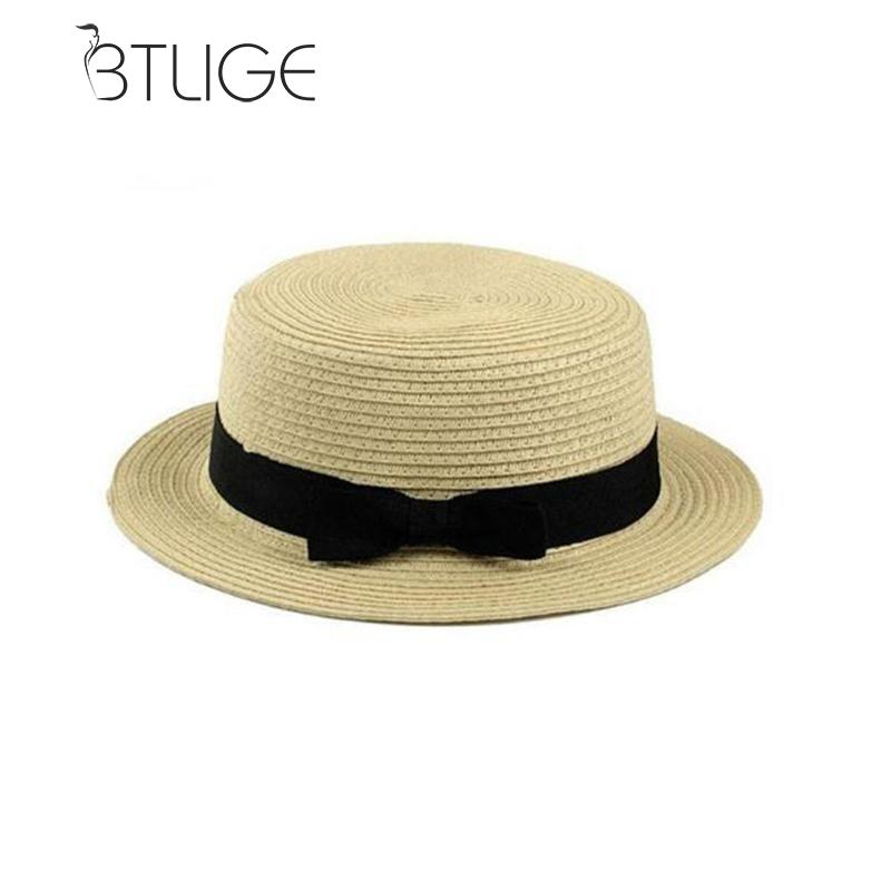 1 Pcs Fashion Ol Lady Boater Sun Caps Ribbon Round Flat Top Straw Beach Hat 10 Colors Bowknot Beach Sunscreen Straw Hat