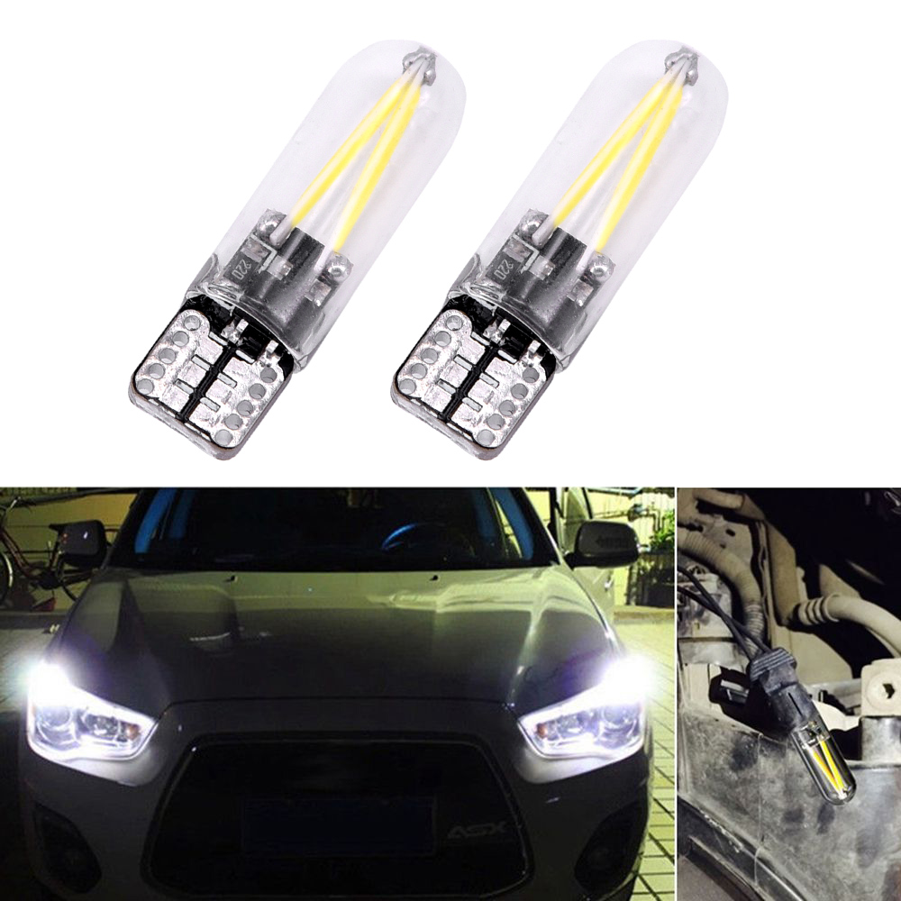 2pcs License Plate Lights 3W T10 LED Car Glass Auto Lamps 6500K COB DC 12V-24V Super Bright