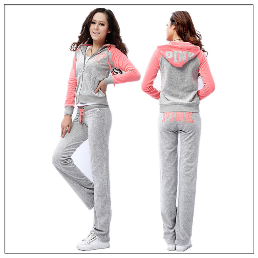 8b6a9e405a4 Women's Tracksuit Sweat Suits Patchwork Pink Jogging Suits Velour  Sportswear Hooded Sport Suits Cothing Set For Women 7 Colors-in Hoodies &  Sweatshirts from ...