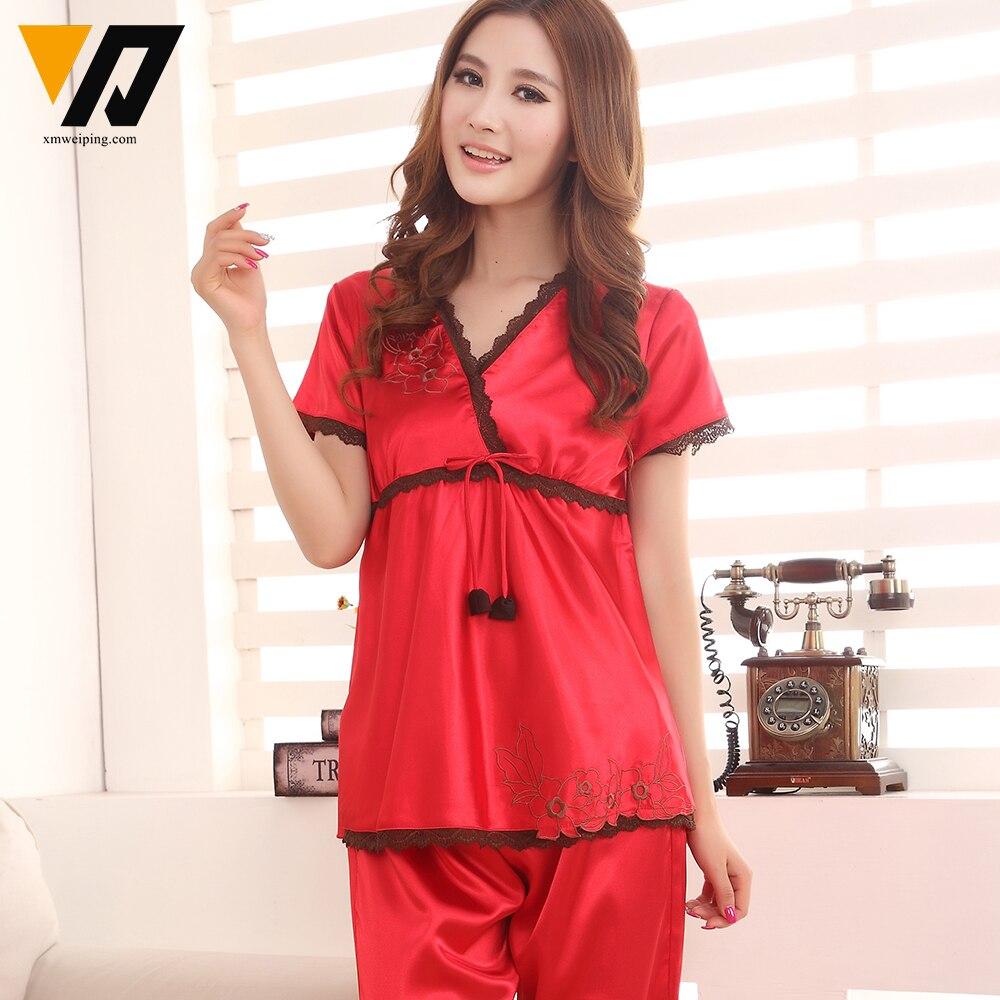 XMWEIPING Silk Satin Pyjamas Women Summer Sleepwear Solid ...