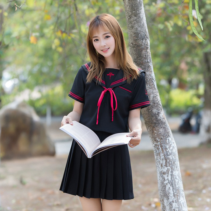UPHYD Dark Demon Embroidery Japanese School Uniform For Girls Short Sleeve Sailor Tops+Tie+Skirt Navy Style Students Clothes