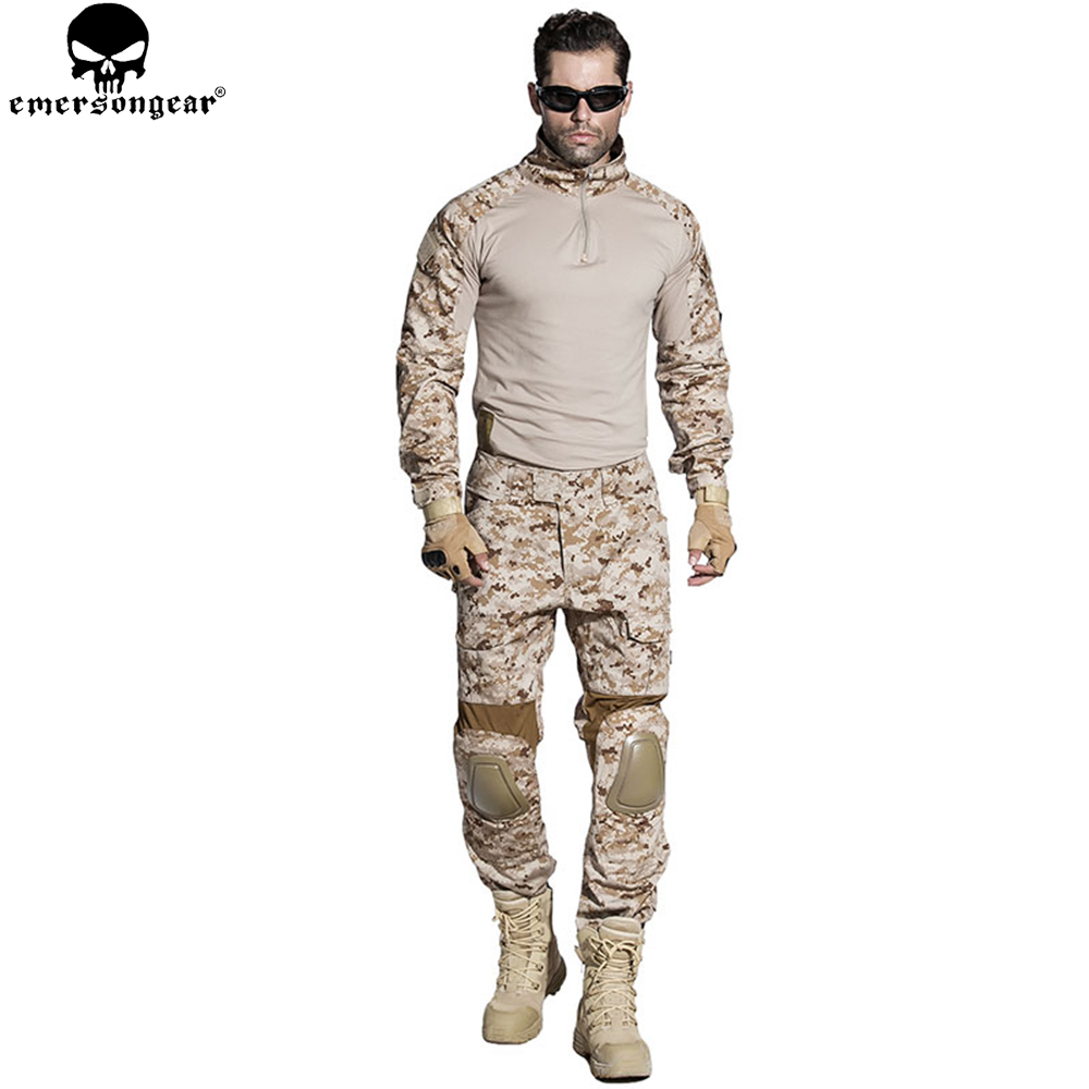 EMERSONGEAR Gen2 BDU Airsoft Combat Suit Tactical Shirt Pants with Elbow Knee Pads Military Hunting Clothes AOR1 EM6914 desert digital camo hunting clothes with gen2 knee pads combat uniform tactical gear shirt and pants army bdu set page 9