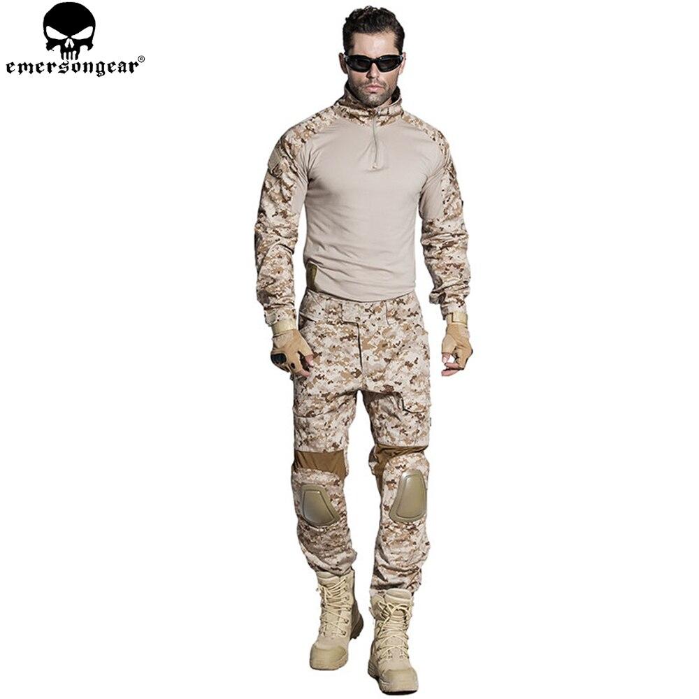 EMERSONGEAR Gen2 EDR Airsoft Combat Costume Tactique Chemise Pantalon avec Coude Genouillères Militaire Chasse Vêtements AOR1 EM6914