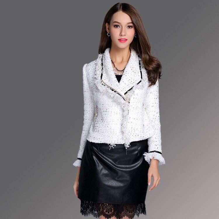 Manteau Manches Nouvelle Streetwear C2551 Blanc Feminino À Laine 2018 Petit Hiver Mince Parfum Manteaux Courte Femmes Dames Longues De Automne qtWUYOz