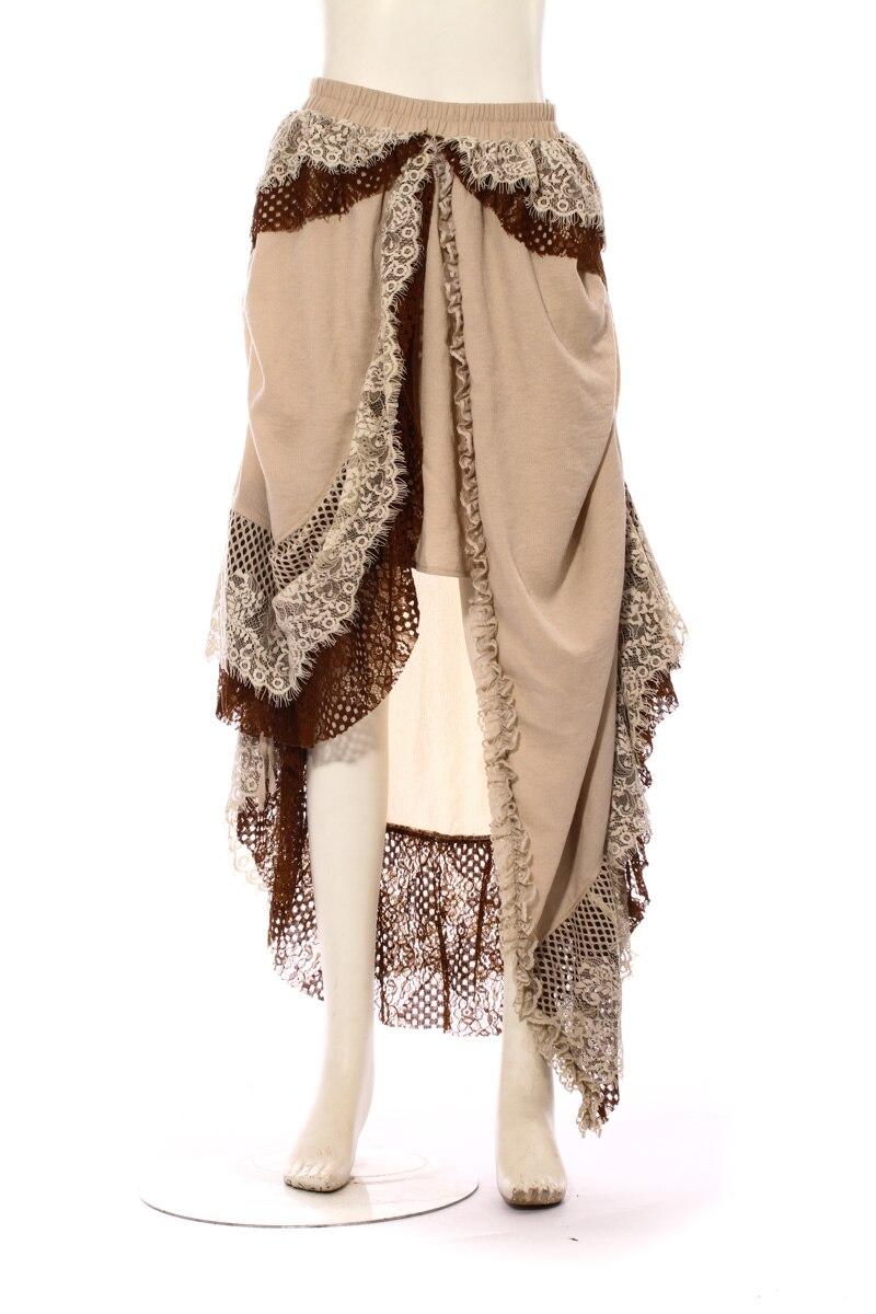 Steampunk gothique Lolita jupes femmes asymétriques longues jupes dentelle Patchwork printemps belles jupes