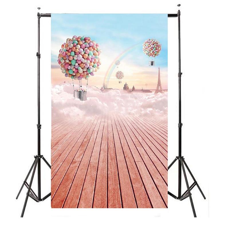 Mayitr 3x5FT Balloon Photography Backdrop Rainbow Wooden Background For Photo Props Studio 5feet 6 5feet background snow housing balloon photography backdropsvinyl photography backdrop 3447 lk