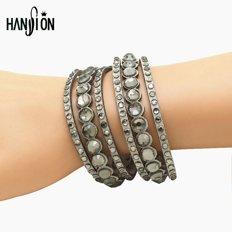 Hot Sale Luxury Czech Rhinestone Full Filled Hollow Bracelet Leather Women Female One Piece Free Shipping Wholesale