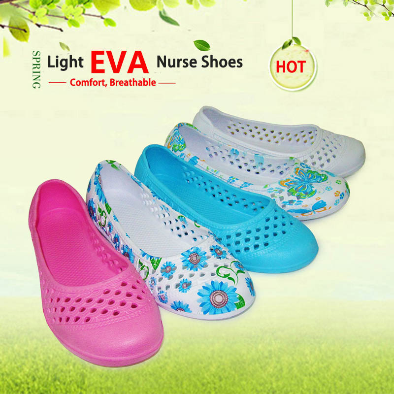 New Arrival Super Light Weight EVA Nurse Shoes Fashion Print Breathable Medical Shoes Hospital Lab Nurse Workwear