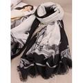 2016 Nueva Dama de La Moda Bufandas de Estilo Blanco y Negro Párrafo Salvaje Chal Bufandas Bufanda Bufandas Patrón de Caballo, chales, estolas