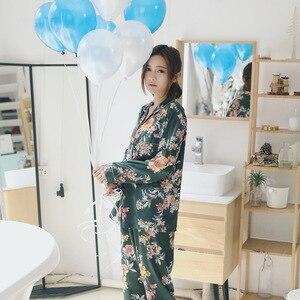 Image 5 - Spring Women Silk Long Sleeve Pajamas Sets 2 Pieces Sleepwear Soft Casual Comfortable Pyjama Print Flower Pijama Nightwear