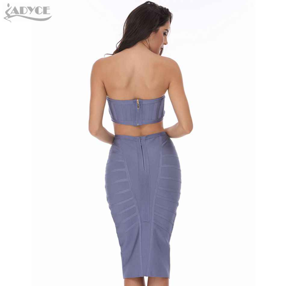 ADYCE 2019 New Women Summer Bandage Dress 2 Two Pieces Sexy Gray Strapless Hot Celebrity Evening Party Runway Club Dress Vestido