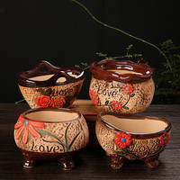 Commercio all'ingrosso Fioriera Carino dipinto A Mano Succulente Piante in Vaso di Fiori Retrò piccolo Ceramica floreale giardino in vaso Mini Ornamenti decorativi
