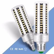 E27 Corn Lamp LED E14 220V Full Aluminum Corn Bulb LED 5736SMD 5W 7W 9W 12W 15W 18W 20W High Power LED Bulb No Flicker 85-265V цена в Москве и Питере