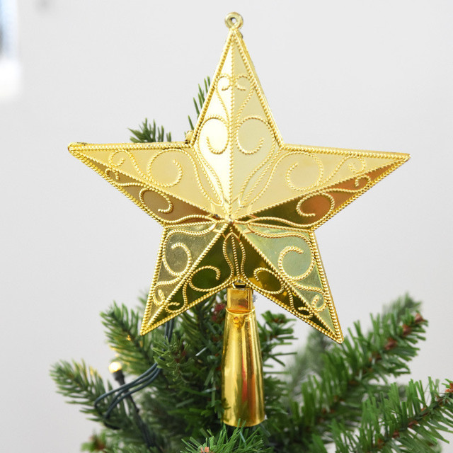 Christmas Tree Top Glitter Gold Star Plastic Christmas Star Tree ...