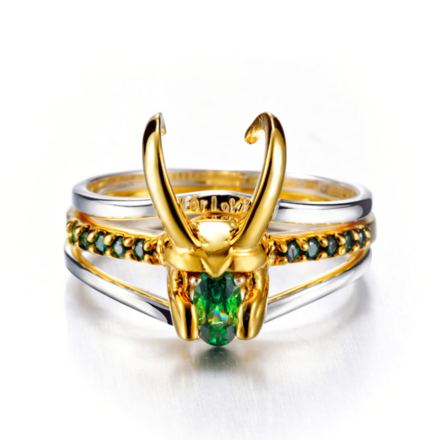 Super-héros Thor Loki casque paquet de 3 empilables unisexe 925 argent plaqué or anneaux hommes charme bijoux femmes saint valentin cadeaux