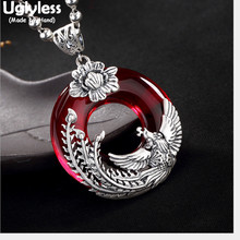 Uglyless Real Solid 990 Silver Handmade Phoenix Pendants for Women Ethnic Thai Silver Fine Jewelry Chalcedony Button Necklaces