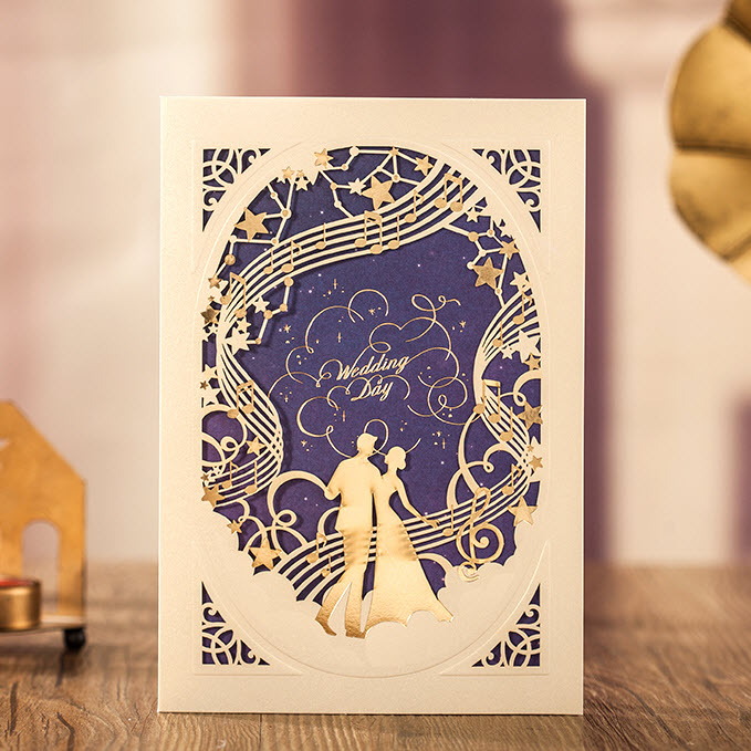 Gold And Purple Wedding Invitations: 100 Pieces, Dark Purple Gold Tones Loves Wedding