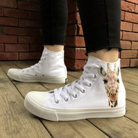 Wen Original Design Hand Painted Animal Shoes Cute Giraffe Pattern High Top White Canvas Unisex Shoes