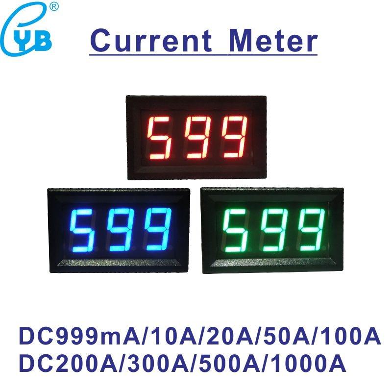 Светодиодный цифровой амперметр DC 10A 50A 100A 200A 300A 500A 75мв DC измеритель тока ампер тестер DC Amp Панель измеритель тока черный