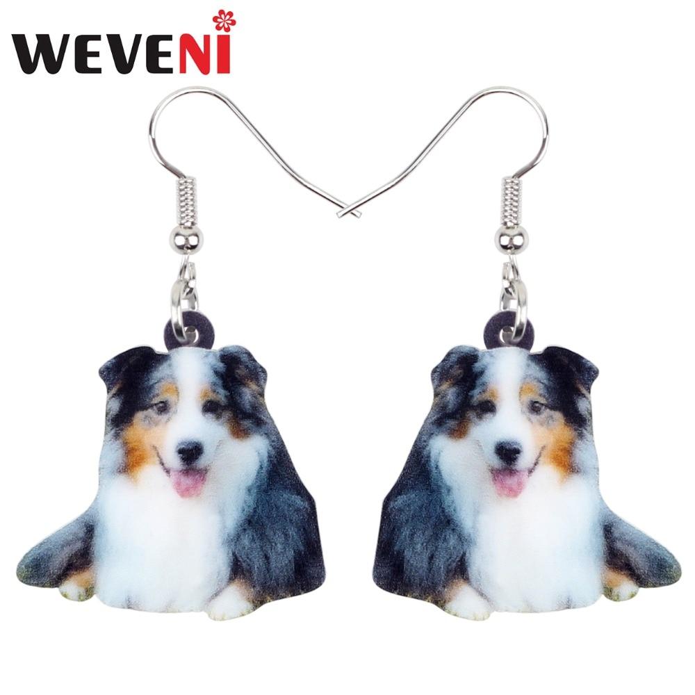 WEVENI Acrylic Cute Australian Shepherd Dog Earrings Dangle Drop Cartoon Animal Jewelry For Women Girls Pet Lovers Wholesale