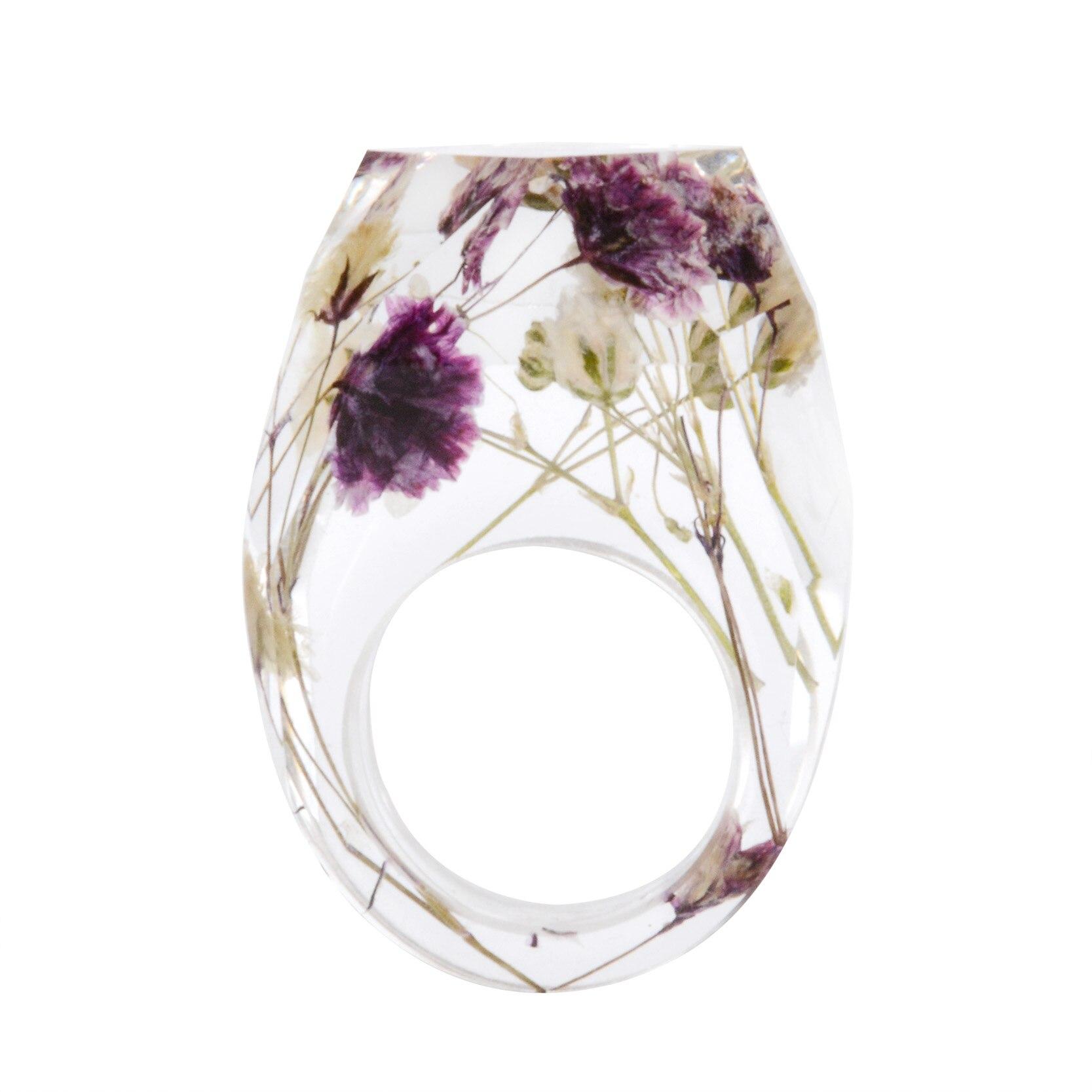שקוף שרף שיבוץ מיובש פרח שרף טבעת עבור נשים חתונת אירוסין אבזרים