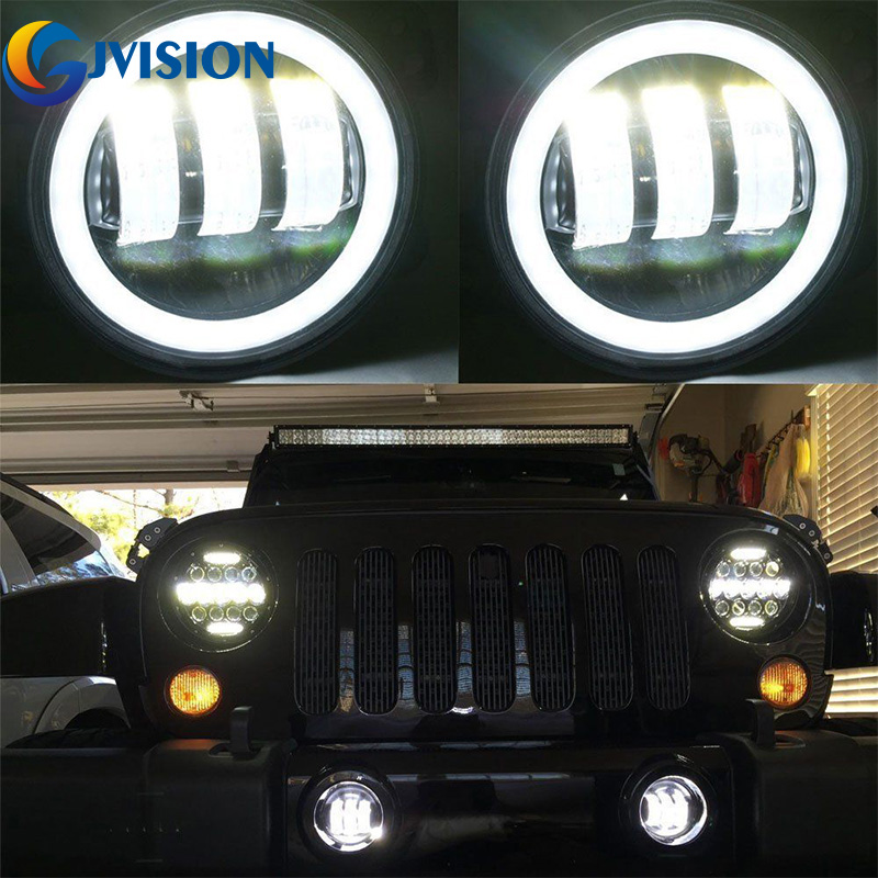 4 INCH 60W LED Fog lights W/White Halo Ring DRL for Jeep Wrangler 97-15 JK TJ LJ Off Road fog lamps 4 inch 60w led fog lights w white halo ring drl for jeep wrangler 97 15 jk tj lj off road fog lamps