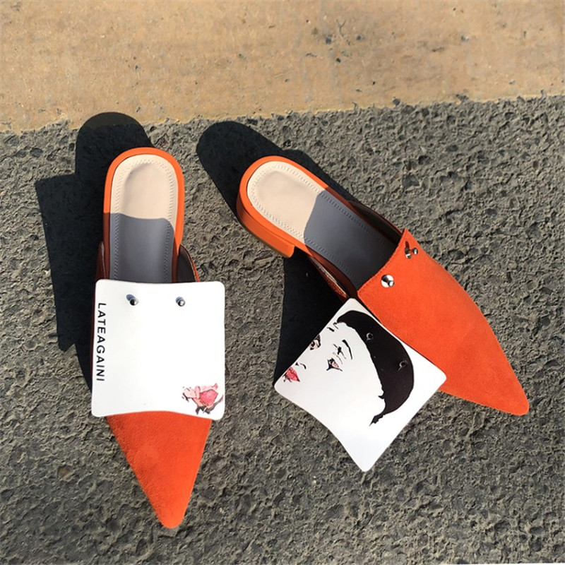 Las Otoño Zapatos Slip rojo Zapatillas De Mulas Prova Primavera Diapositivas Cebra Del Planos Mujer Moda stripe en Negro Impresión Pie Dedo Perfetto w7qpX4AZ