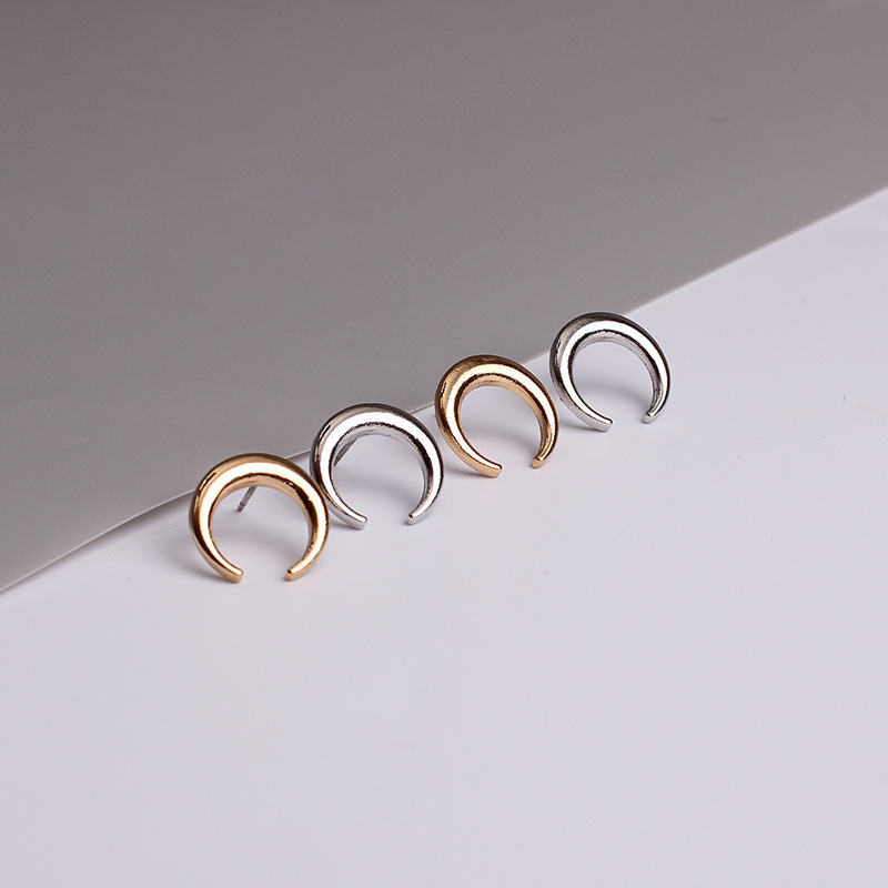 Korean Style Moon Shape Horns Crescent Earrings Trendy Female Punk Stud  Earring For Women High Quality Stud Earrings Jewelry-in Stud Earrings from  Jewelry ...
