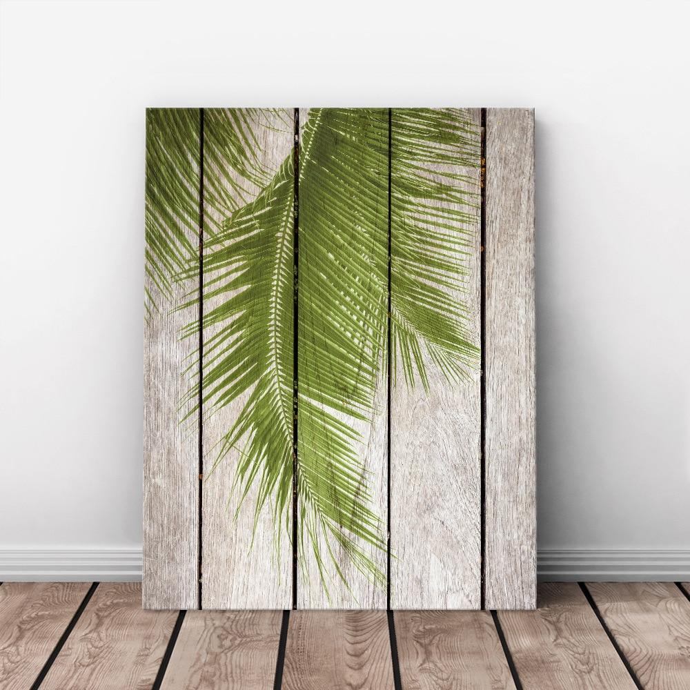 Art Print Oil Painting Palm Tree Leaf Framed Wood Pattern