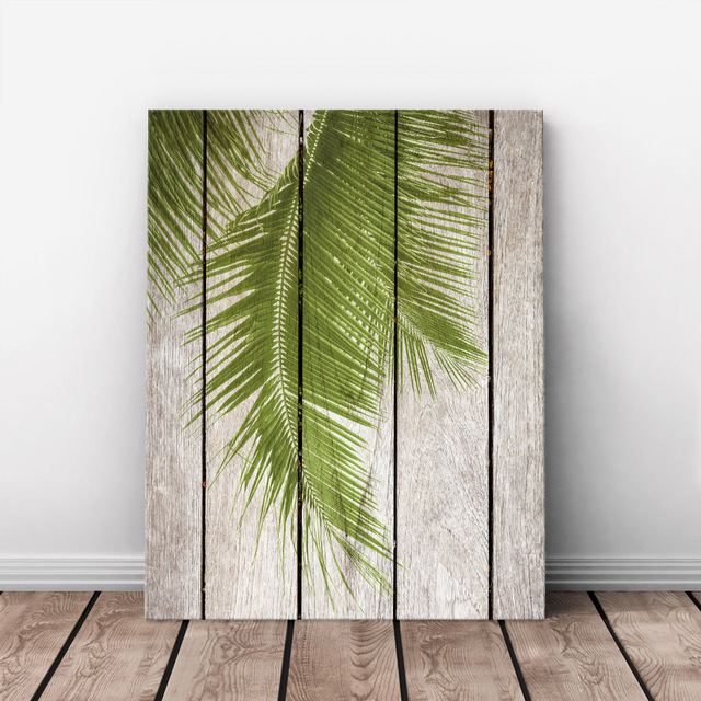 Art Print Oil Painting Palm Tree Leaf Framed Wood Pattern Home/Store ...